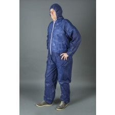 Non woven overall with velcro blue - Size XL