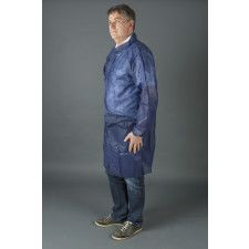 Non woven visitor jacket with velcro blue - Size L
