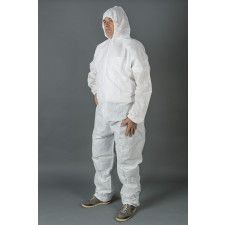 """Non woven overall with velcro white - Size 3XL"