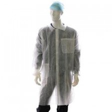Polypropylene lab coat with Velcro closure