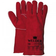 Welding glove in red split leather