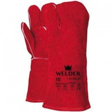 Welding glove in red split leather, 3 finger model