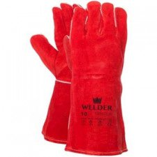 Welding glove in red split leather with Kevlar yarn stitched
