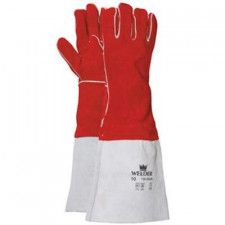 Welding glove in red split leather with long hood