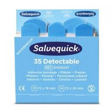 Salvequick blue detectable plasters