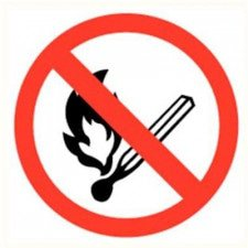 Fire, open flame and smoking prohibited plate diameter 200 mm